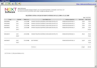 NeXT ERP 1414 Relatorio contas a pagar