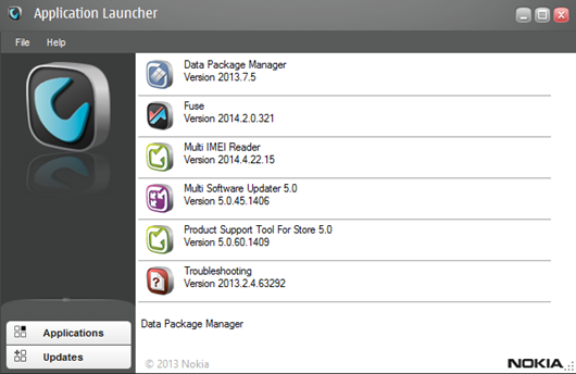 nokia data package manager product type thing