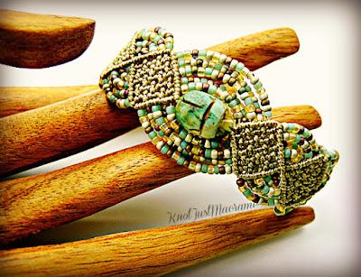Scarab in micro macrame bracelet by Sherri Stokey.