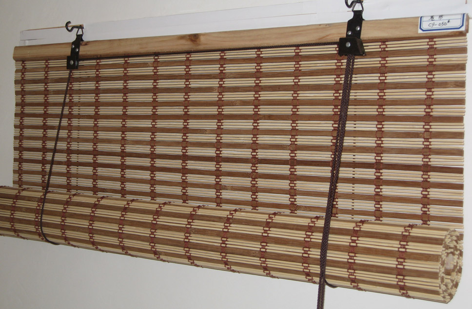 Bamboo roll up blinds bamboo valance photo for Exterior no chain window shade