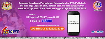 Semakan Keputusan Permohonan IPTA Politeknik Premier Secara Online Dan SMS