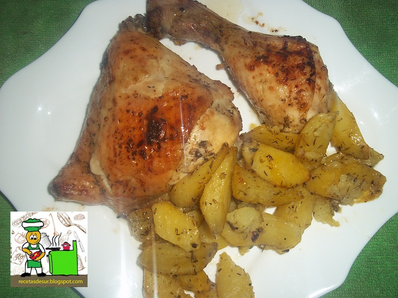 Recetas del sur pollo al horno con ajo tomillo y limon - Pollo al horno con limon y patatas ...