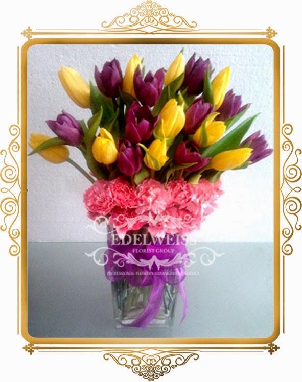 jual tulip ungu dan kuning, toko bunga, karangan bunga ucapan, bunga ulang tahun