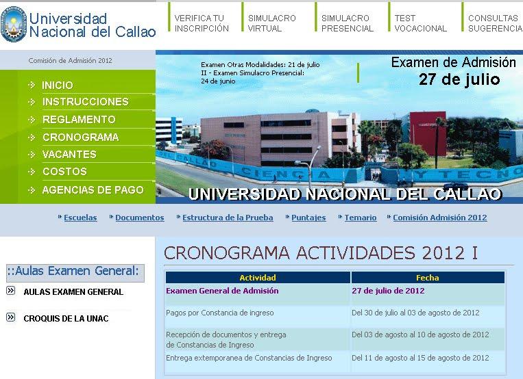 Resultados del Examen para la Universidad Nacional del Callao 2012-I
