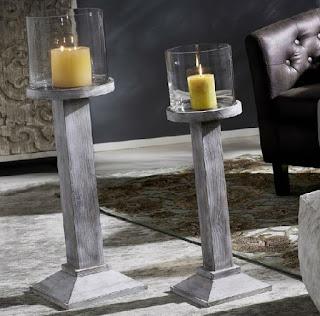 Pedestales con velas madera
