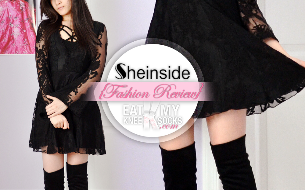 Intro picture for the Eat My Knee Socks review of the Free People Reign Over Me lace dress dupe from SheInside!