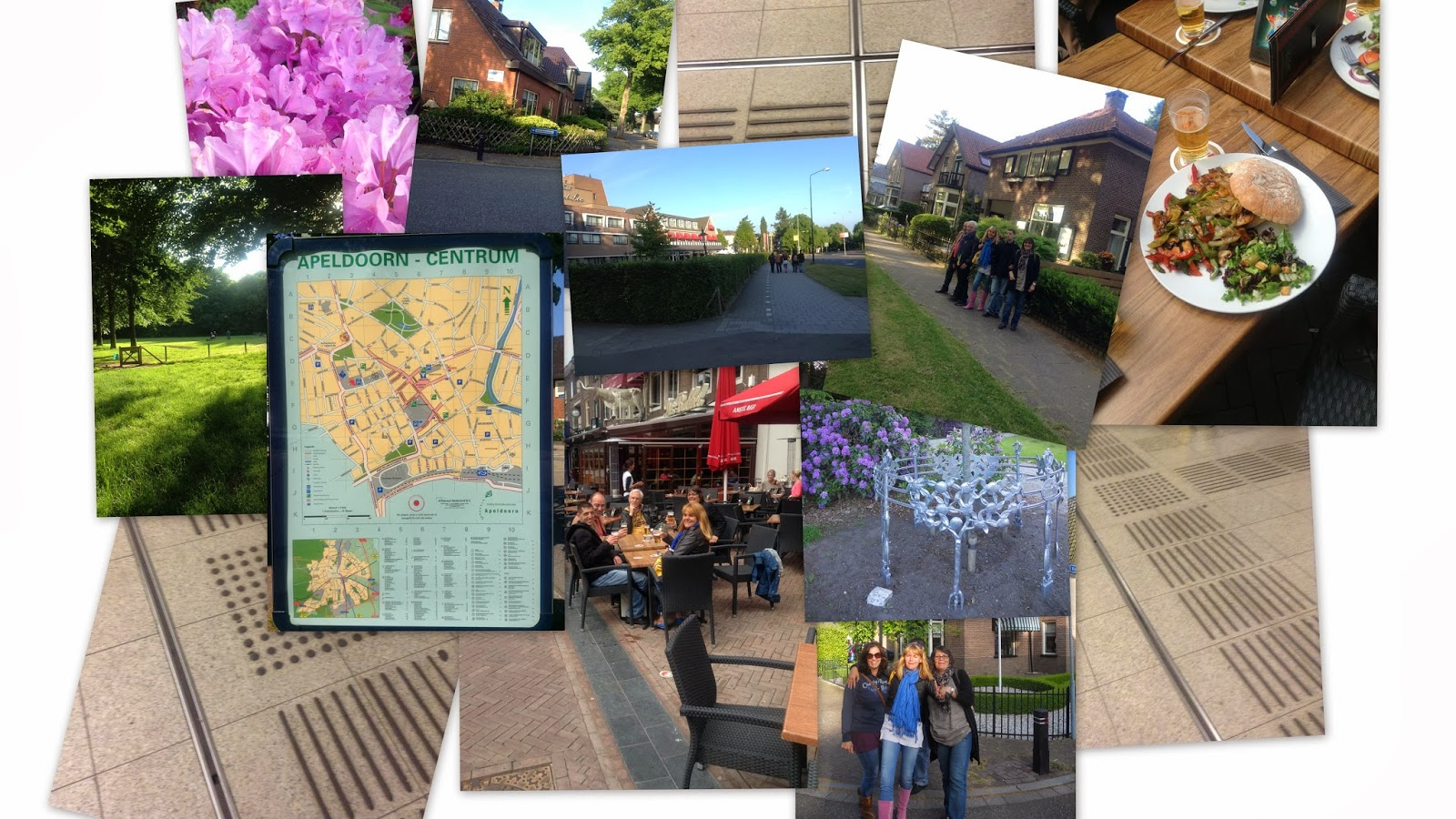 Colagens de fotografias do dia da chegada aos Países Baixos