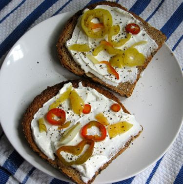 toast with labneh and pickled peppers