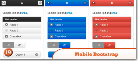 jQuery Mobile Bootstrap Theme