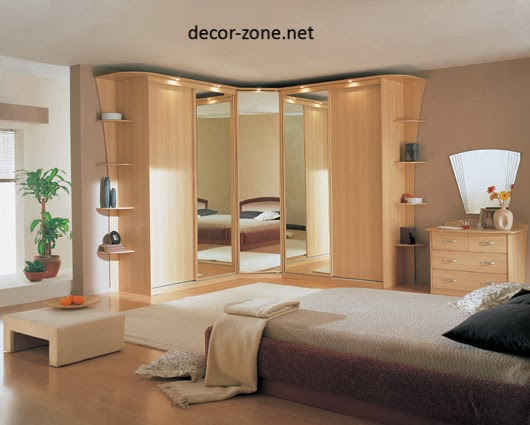 mirrored bedroom corner closet, bedroom closet ideas