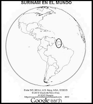Ubicación de SURINAM en El Mundo (Google Earth) blanco y negro