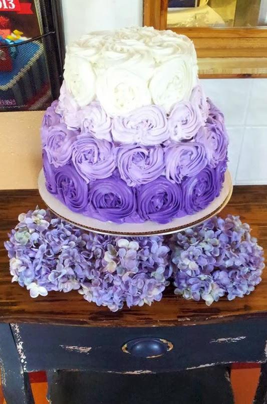 purple rosette ombre cake