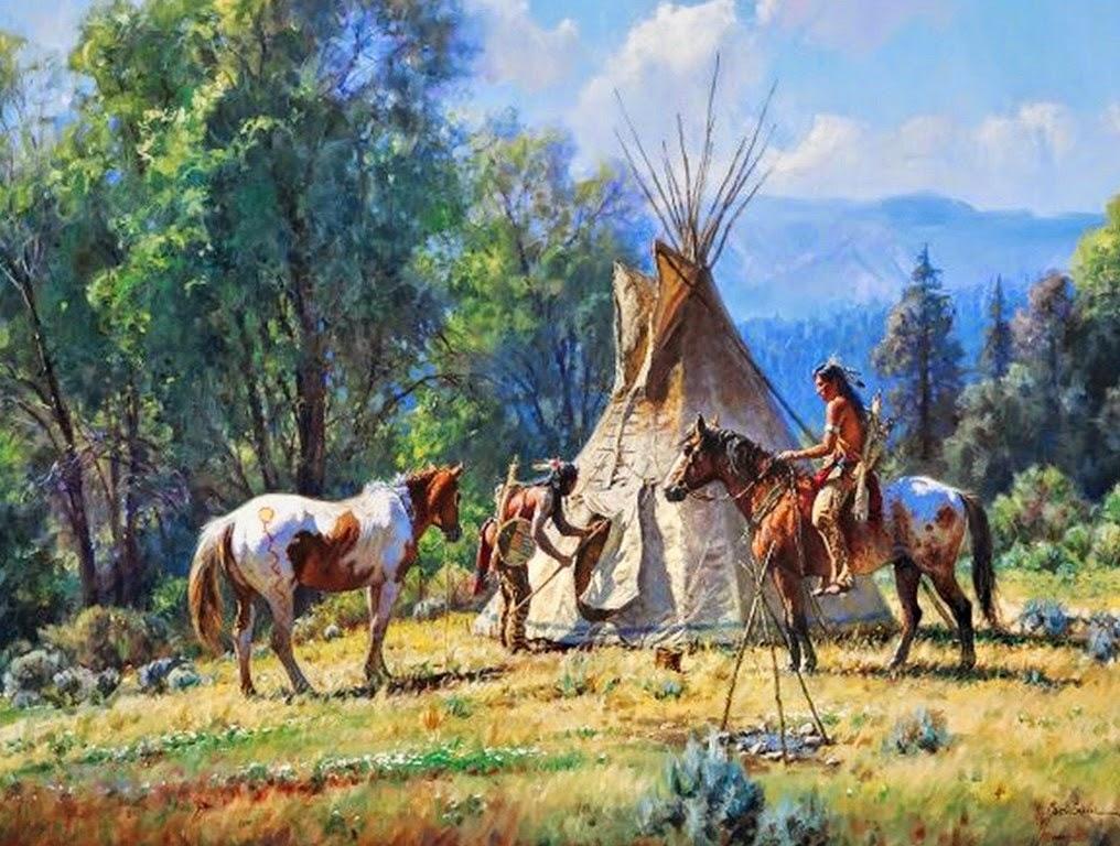 caballos-e-indios-del-oeste-americano-pintados-al-oleo