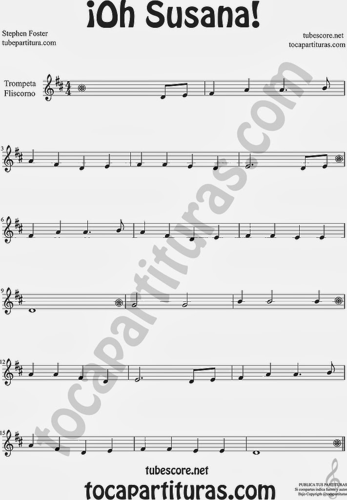 ¡Oh Susana! Partitura de Trompeta y Fliscorno Sheet Music for Trumpet and Flugelhorn