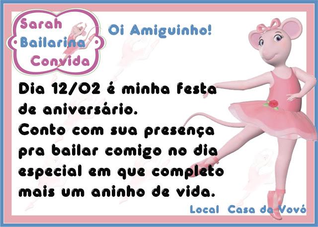 Convite Festa Aniversário Infantil Angelina Bailarina