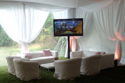 Wedding reception lounge with TV