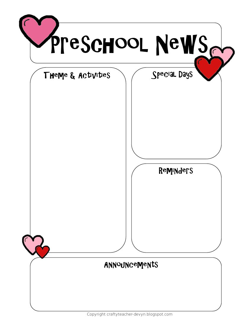 preschool newsletter template the crafty teacher. Black Bedroom Furniture Sets. Home Design Ideas