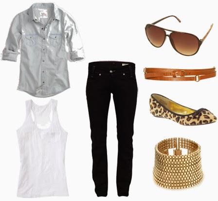 Black Jeans, White Women Shirt, Amazing Babet, Suitable Glasses and Belt, Bright Bracelets