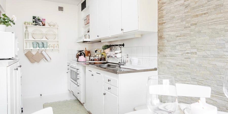 wystrój wnętrz, wnętrza, Scandinavian style, urządzanie mieszkania, dom, home decor, dekoracje, aranżacje, styl skandynawski, styl romantyczny, styl angielski, biel, miałe wnętrza, białe mieszkanie, kuchnia