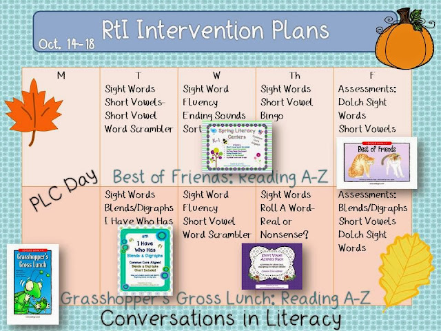 RtI reading activities and resources