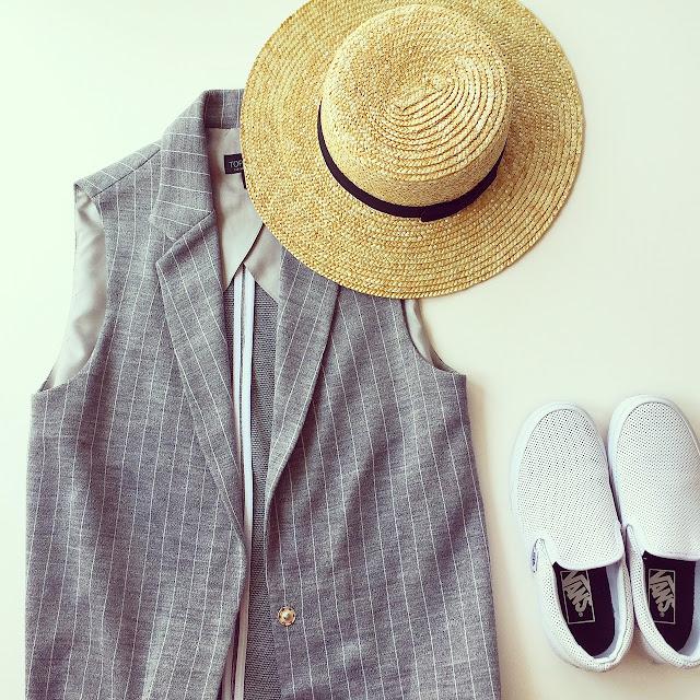 lack of color hat, vans slip on, topshop vest, fashion blog