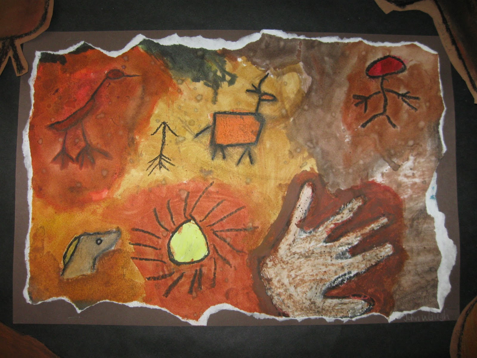how to draw cave paintings step by step