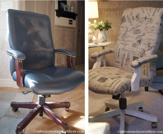 Typography styled executive office chair makeover - Confessions of a Serial Do-It-Yourselfer