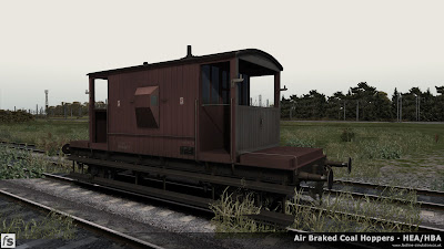 Fastline Simulation - Bonus Stock: A dia 1/506 BR 20T brake van from lot 3129 built at Darlington in 1958 and currently unbraked as signified by the grey end often apllied when a brake than was expected to be braked or piped wasn't. This version is one of a number of 20T brake vans included in our HBA/HEA hopper wagon expansion pack for Train Simulator 2014 to help add variety and authenticity to the scenarios in the pack.