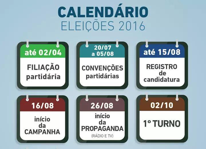 Calendário - Eleições 2016