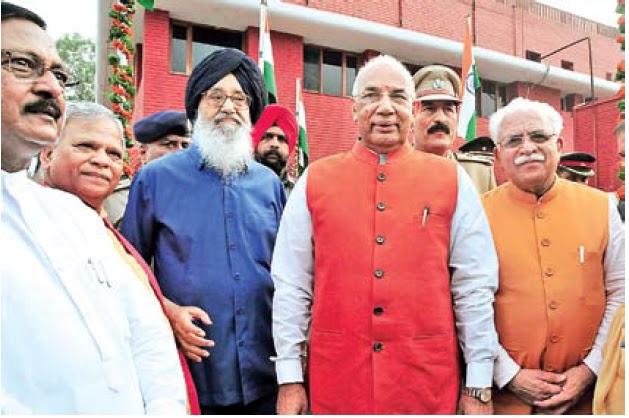 Chief Minister Prakash Singh Badal, Governor Punjab & Haryana Prof. Kaptan Singh Solanki, CM Haryana Manohar Lal Khattar & Additional Solicitor General of India Satya Pal Jain 'At Home' at Punjab Raj Bhawan