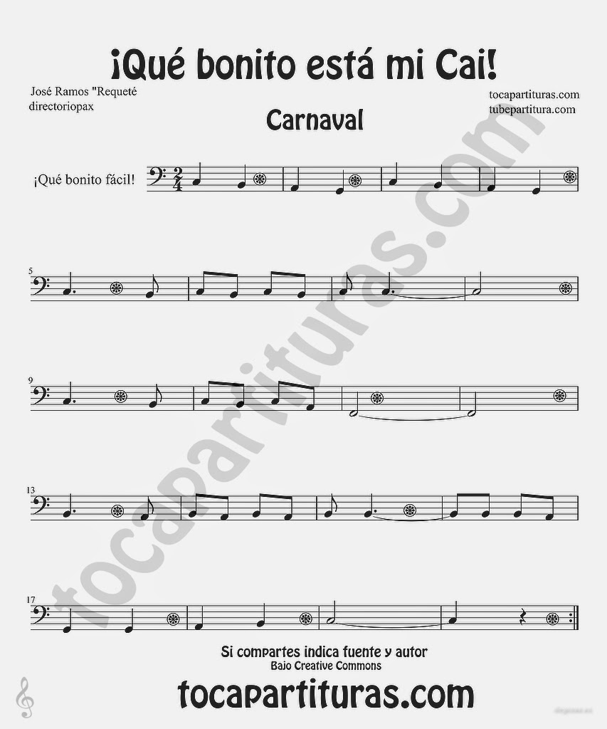 Tubescore Que bonito esta mi Cai Easy Sheet Music for Trombone, Tube, Euphonium, Cello and Bassoon Carnival Folk Music
