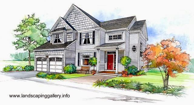 Dibujo coloreado de una casa americana típica