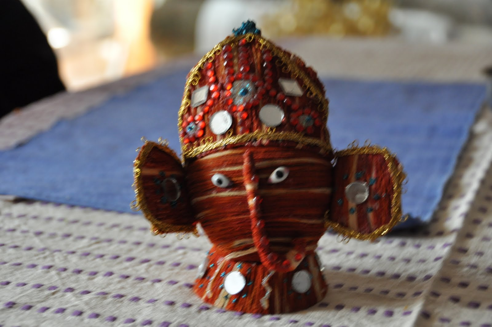 Luv for krafts ganesha made out of dry coconut khopra for Waste to best material