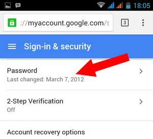 how to change google account password on android
