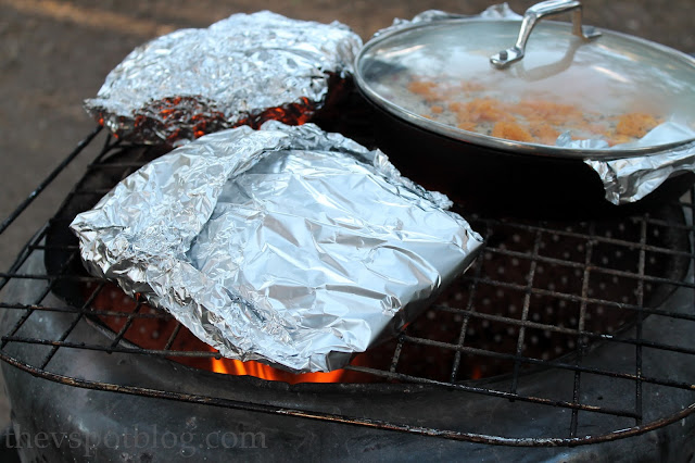 How to cook skillet cornbread and roasted potatoes over a campfire.  Easy campfire grilling.