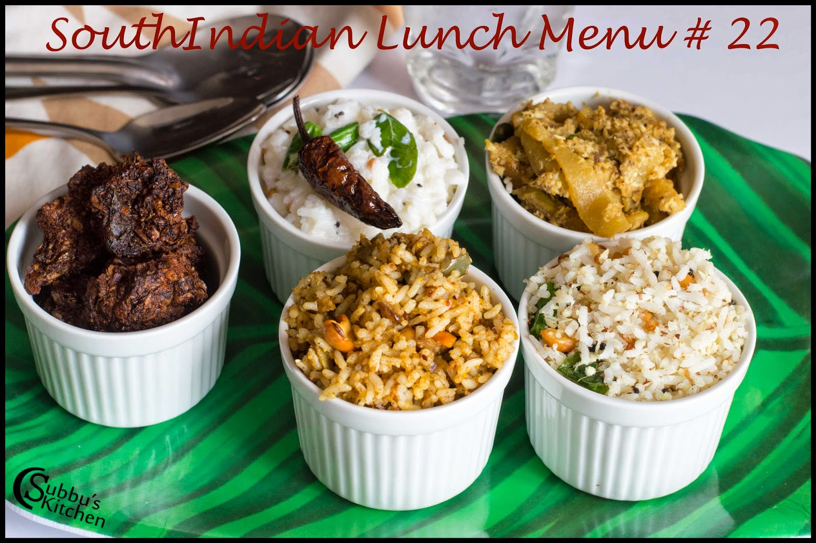 South Indian Lunch Menu 22 -Vaangibath, Coconut Rice, Aviyal, Curd Rice, Vadam, Rice