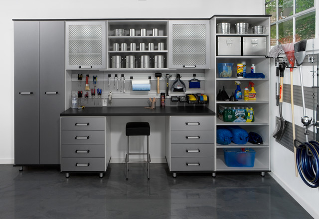 Awesome contemporary garage and shed Design Used Minimalist Garage Shelves Furniture in Grey Color and Black Countertop