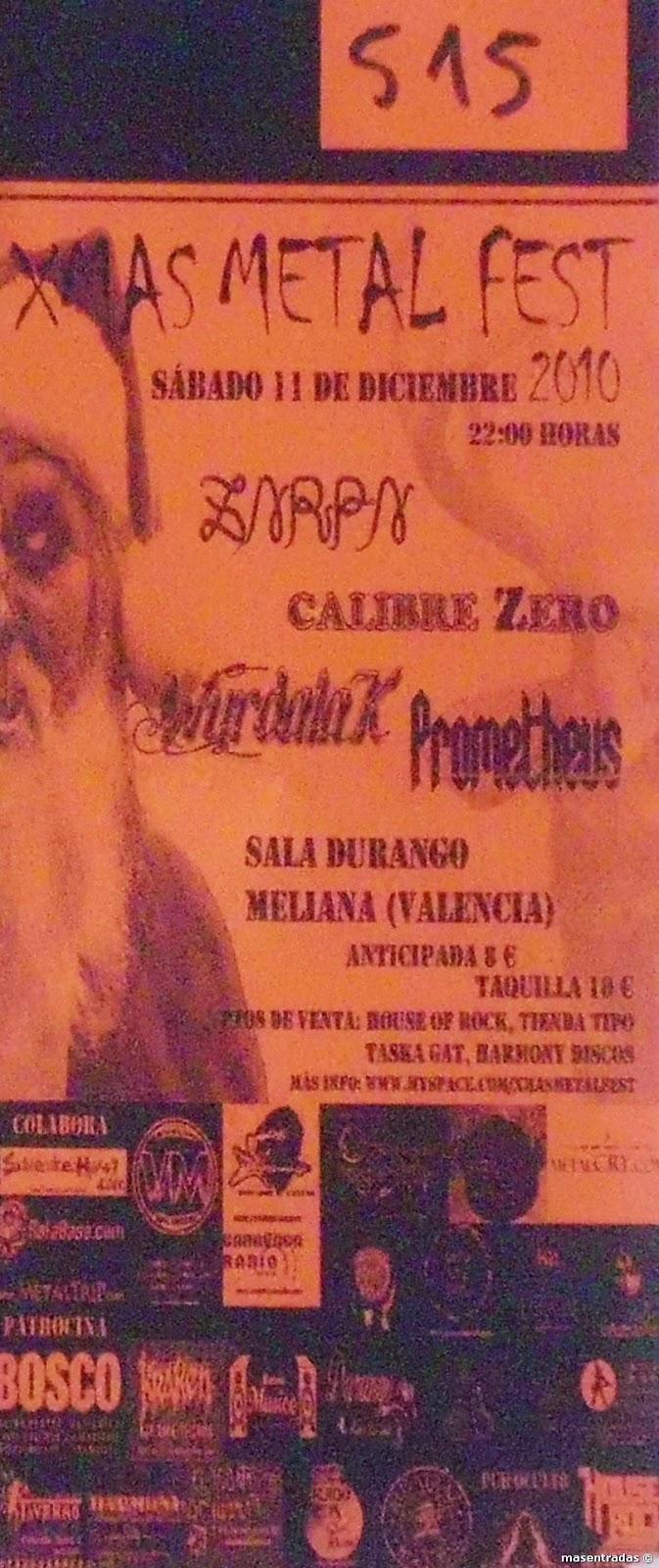 entrada de concierto de xmas metal fest
