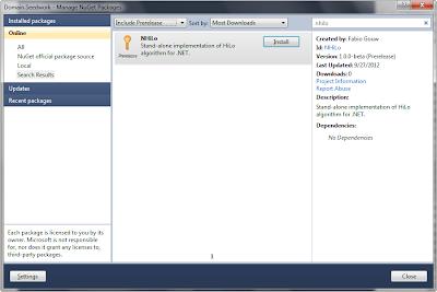 Tela mostrando o Nuget com o NHiLo disponibilizado.