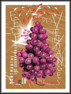 Affiche 2012 fête des Vendanges Montmartre Paris 18eme, Parcours du goût