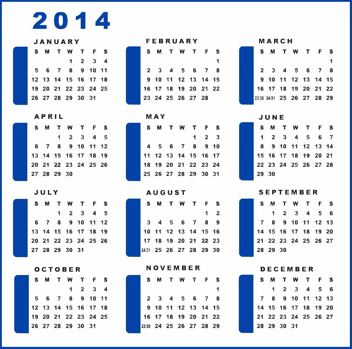 yearly calendar 2014   printable calendar 2014  blank calendar 2014  download calendar 2014 template
