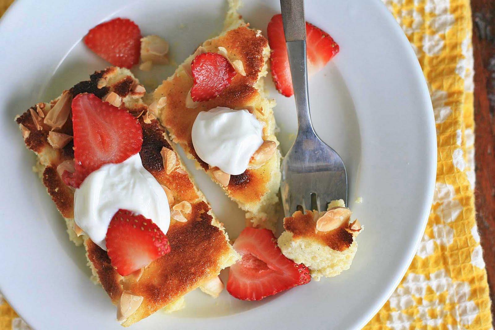 Lemon-Vanilla Yogurt Cake with Almonds and Strawberries | Girl Cooks ...