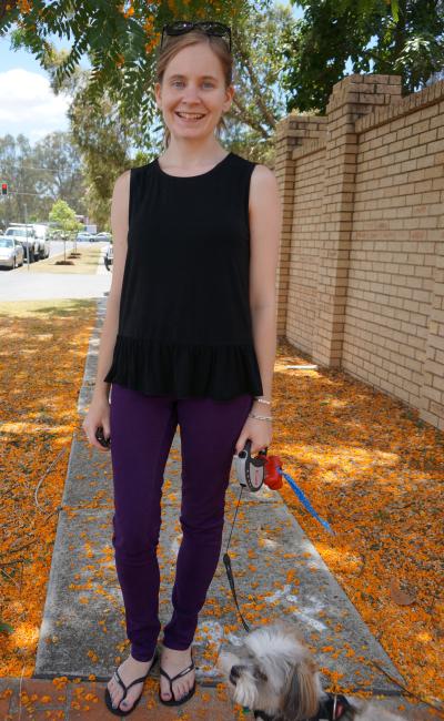Zalora black peplum tank purple jeanswest skinny jeans Aussie Spring Outfit