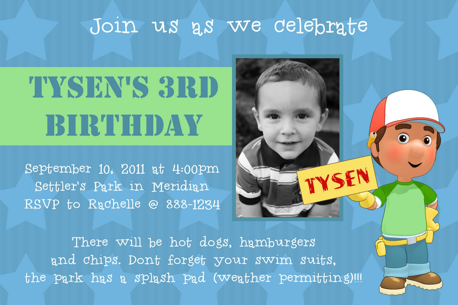 Handy Manny Birthday Invitation