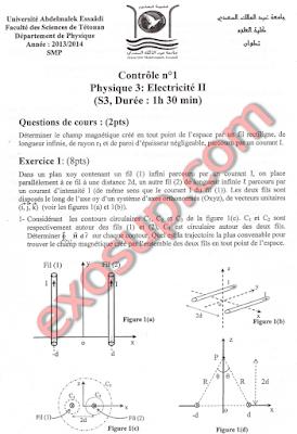 fsTétouan contrôle corrigé d'électricité 2 smp