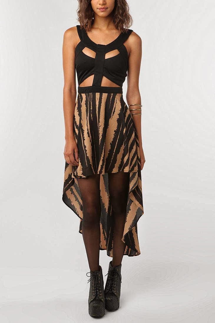Urban Outfitters, Reverse dress, tiger stripes, cut out top, hi lo, high low skirt, black top, sexy, UO