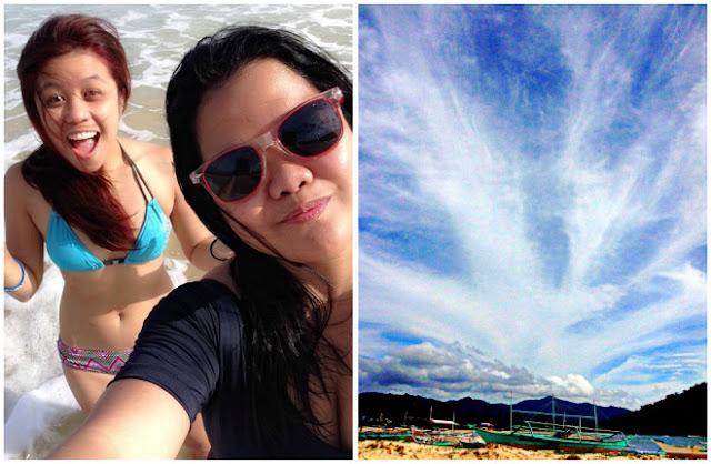 Nacpan Calitang Twin Beach El Nido boats and skies