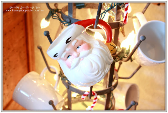 Farmhouse Christmas Kitchen-Breakfast Nook-French Bottle Drying Rack-Vintage Santa Mug-From My Front Porch To Yours