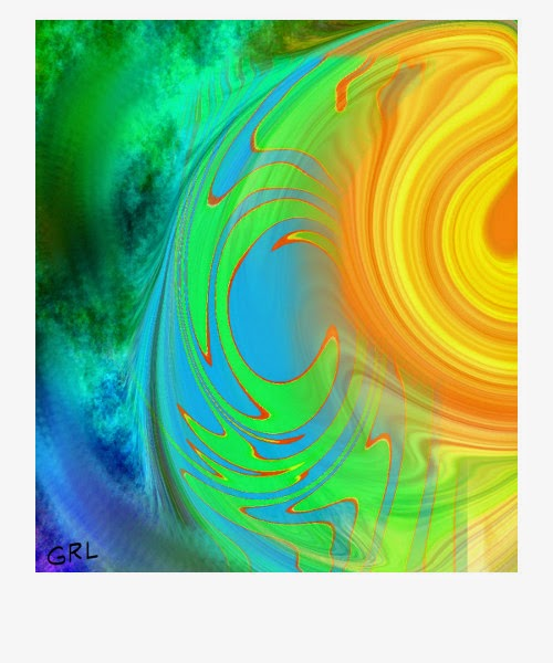 A galaxy spinning gold, fine art digital abstract, warping, swirls, clouds of green, blue ...