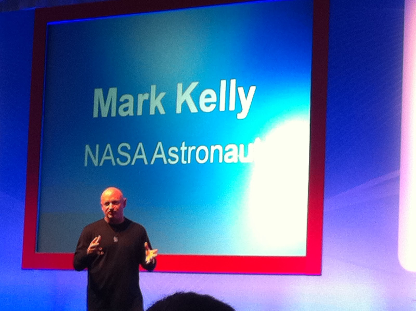 Mark Kelly speaking about his space mission